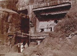 Ellora. Lord Minto's Party at the foot of the [Visvakarma] Cave